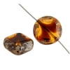 Fire polished 15mm Cut Round Diamond Amber Crystal Marble Edge